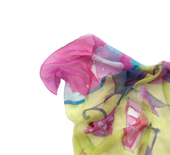 Neon Umbrellas handpainted silk scarf. Summer Silk scarf paint by hand. Umbrellas in neon pink and yellow.
