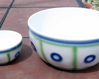 Villeroy & Boch 8 Inch and 4 Inch Blue and Green Porcelain  Bowls