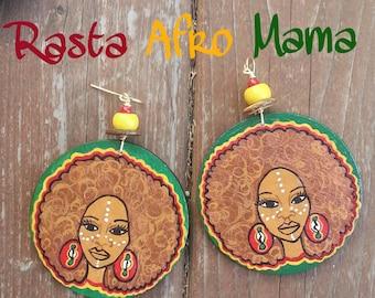 Rasta Afro Mama Hand Painted Earrings
