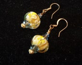 Yellow Spring Flower Lamp Work Earrings