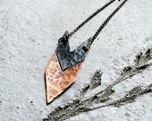 Arrow necklace, hammered copper, two-tone, gunmetal chain, tribal rustic modern - Huntress
