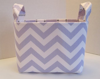 Large Lavender and White Chevron Fabric Basket