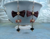 Brass and Bow Earrings- wine and copper silk, brass chain and onyx