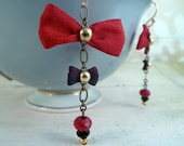 Lady in Red Earrings – red and burgundy silk bows, gold hooks, onyx, brass chain