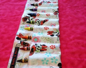 Minnie Mouse Crayon Roll w/ Pink Ribbon and 8ct Crayola Crayons