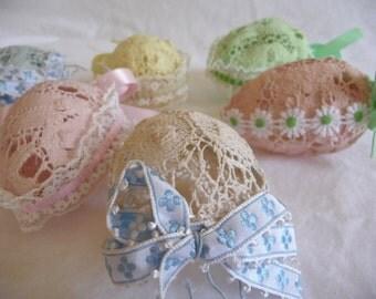Vintage Lace Eggs, Easter Egg Decorations, Ornaments, Starched Crochet Eggs, Handmade Eggs, Easter Decor, Set of Six, Pastel Color Eggs,Cute