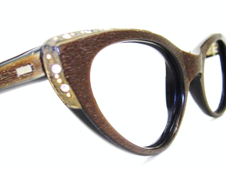Unique Cat Eye Glasses Frame Vintage : Vintage Wood Grain Cat Eye Eyeglasses Frame UNIQUE