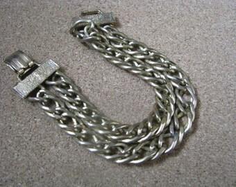 Double strand vintage gold tone link bracelet
