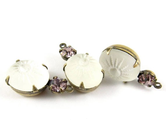 2 - Vintage Glass Stones in 1 Ring 2 Stones Antique Brass Prong Settings - Frosted White & Light Amethyst - 19x10mm .