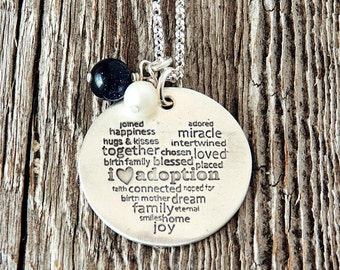 I Love Adoption, I Heart Adoption Necklace, Adoption Gifts, Adoption Sayings, Adoption Gift, Adoption Jewelry, Adoption, Hand Stamped