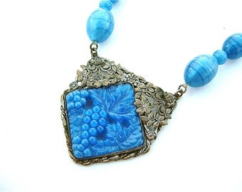 Stunning Art Nouveau Glass Beaded Pendant Necklace Blue Satin Art Deco Glass Grapes Wine Flower Vintage Jewelry