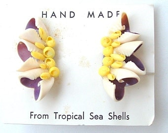 Handmade From Tropical Sea Shells on Original Card Souvenier Creamy Hued Natural Seashell Vintage Earrings