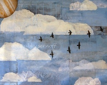 Flying Birds Fine Art Giclee Print of Original Collage 8 x 10