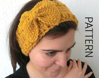 Instant download Headband  Pattern Digital Headband Knitting  PATTERN  PDF   With Bow  DIY Beginners women headband