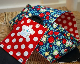 Camera Strap April Showers Red Polka Dot, Reversible, Built in Lens Cap Pocket