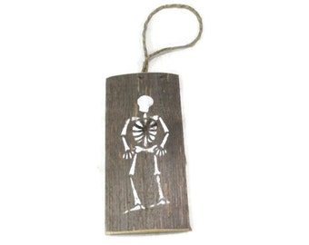 Rustic Halloween Decor - Skeleton Silhouette On Reclaimed Wood - Halloween Sign