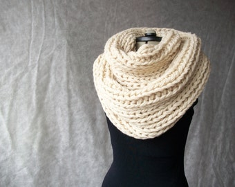 Hand knitted super chunky cowl wrap infinity scarf women men oatmeal color Made to order