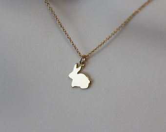 Bunny Rabbit, Cute Necklace, Gold Dainty Necklace, Flower Girl Gift, Bunny Necklace, Gift for kids, Cute Gold Necklace, Delicate Necklace