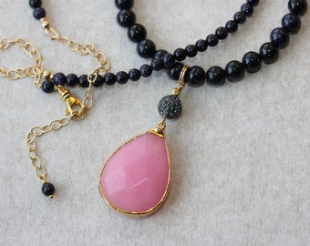Pink Quartz Dark Blue Goldstone Elegant Necklace, Bridal Shop, Pink and Blue Necklace, Jewelry Gifts, Retro