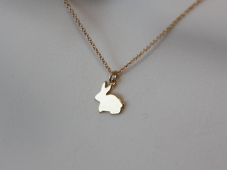 bunny rabbit necklace gold dainty necklace flower