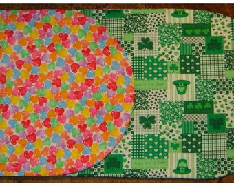 TABLE RUNNER: Valentine and St. Patrick's Theme Jelly Hears and St Pat Patch Work