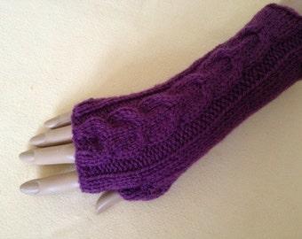 Luxury Hand Knitted Soft Merino Wool Fingerless Gloves/Mittens Arm Wrist Warmers, Heather (Soft Mauve)
