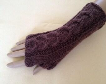 Luxury Hand Knitted Soft Merino Wool Fingerless Gloves/Mittens Arm Wrist Warmers, Brogue (Deep Brown)
