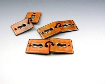 Enameled Key Hole  / Sunset Orange Enamel / Made to order