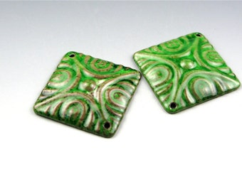Enameled Deco Diamonds / Peacock Green Enamel / Made to Order