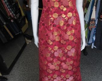 Vintage '60s handmade cranberry brocade silk gown