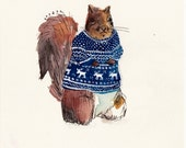 "Squirrel in a Sweater - 5"" x 6"" print"