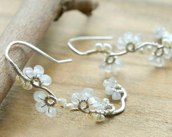 White Moonstone Silver Earrings, Small Flowers Earrings, Dainty Wedding Jewelry