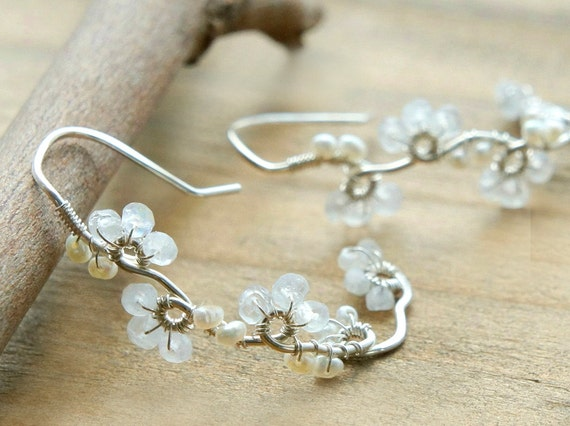 White Moonstone Earrings, Flower Wedding Jewelry, Sterling Silver Hoop, Nature Inspired