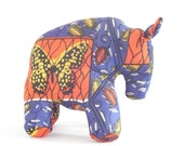 Wildebeest Gnu African wax fabric blue orange butterfly Stuffed Standing Plush toy animal handmade