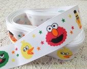 Grosgrain Gift Ribbon - Printed Cartoon Characters, Holiday Stars Sesame Street Elmo and Friends (W2.5CM, 1 Yard)