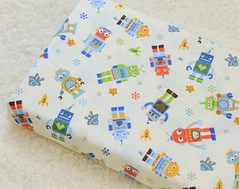Popular items for robots and rockets on etsy for Space themed fleece fabric