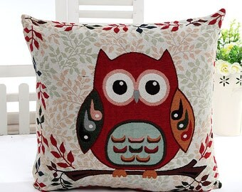 Hoot Owl Collection (D), Lovely Owl On Floral Leaf Garden - Embroidery Fabric, Square Panel Home Decor Fabric (1 Panel, 21.5x21.5 Inches)