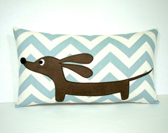 Dachshund Pillow - Doxie Ocean Wave Chevron Pillow - Modern Home Decor Blue Cream