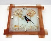 Fused glass Wall Clock - Ivory Light Brown Gold Design painted Wall clock - Fall brown colors tons - glass art.