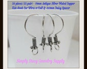 19mm Antique Silver Plated Copper Fish Hook Ear Wires with Coil and Daisy Rondelles - 50 pieces