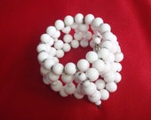 Vintage Bracelet White Glass Beaded Wired Cuff for Young Women