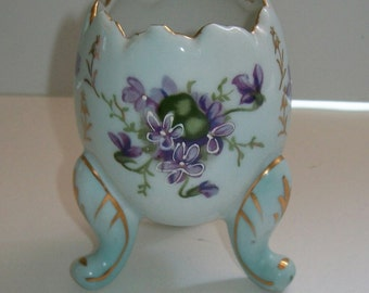 Easter Egg Vase with Violets Footed Ceramic Egg Vase with Painted Florals