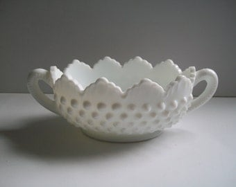Fenton Milk Glass Hobnail Handled Nut Bowl Candy Dish
