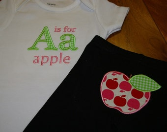 A is for Apple outfit, embroidered, custom made