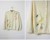 50s cardigan / birds in the garden cardigan / 1950s sweater
