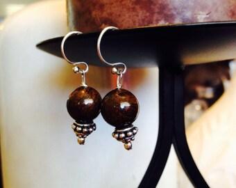 Bronzite & Sterling Dangle Earrings
