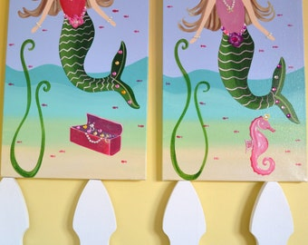 TWO Under the Sea 12x24 Custom Mermaid Sister Canvases with Whimsical Seahorse and Gem Treasure Chest