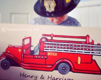 PRINT 24x36 1.5  Painting Wide Profile Firetruck Decor Red Personalized Engine Fire Fighter- Ready Set Go Custom Canvas for Boy's Room