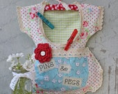 """Clothespin Bag Vintage Style Dress - """"Pins & Pegs"""" Crochet Lace, Shabby, Country, Cottage, Farmhouse Chic"""