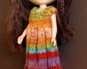 Hand Knitted Dress and Hat for Blythe or Pullip Doll